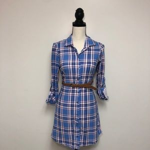 No Comment Blue Plaid Shirt Dress Small